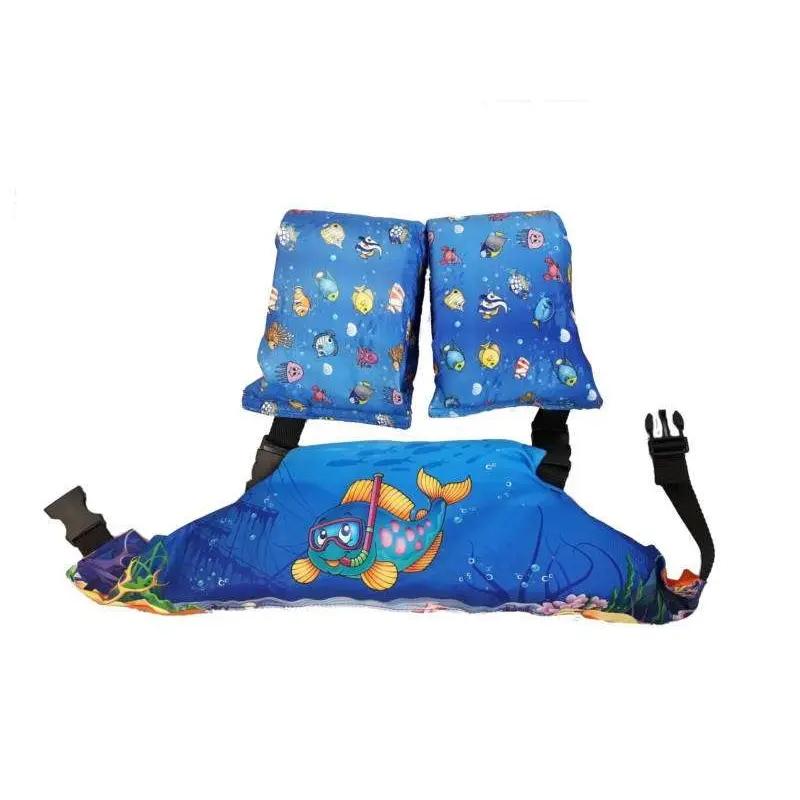 Pływaczki, rękawki - pas do nauki pływania Puddle Jumper Aquarius w kolorze niebieskim z rybką w masce do nurkowania